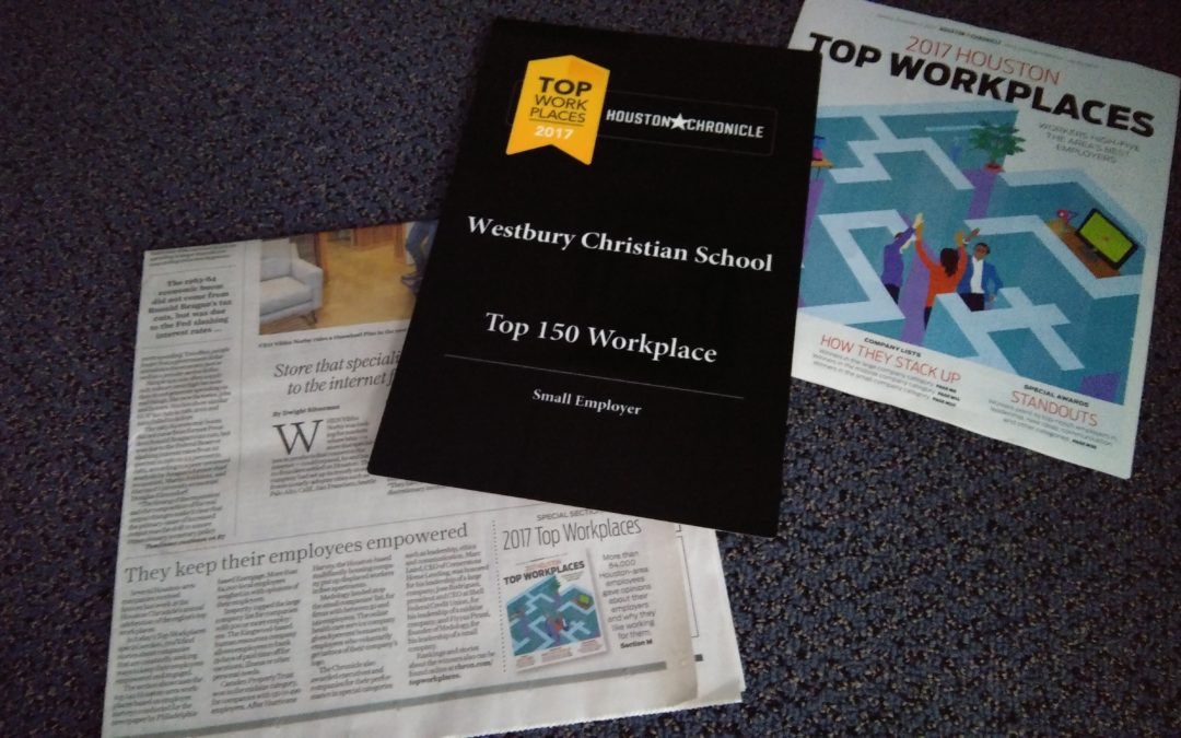 Westbury Christian named one of Houston Chronicle's Top Workplaces for 2017